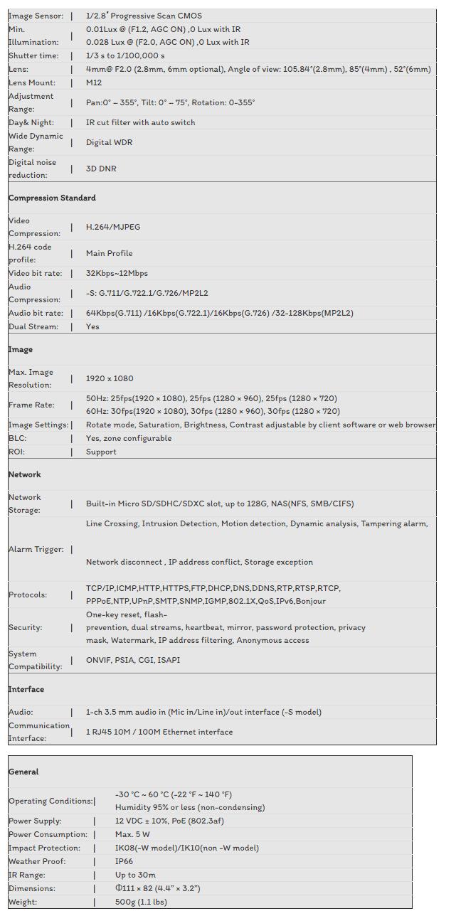 CAMERA IP HIKVISION 2.0MP DS-2CD2120F-I