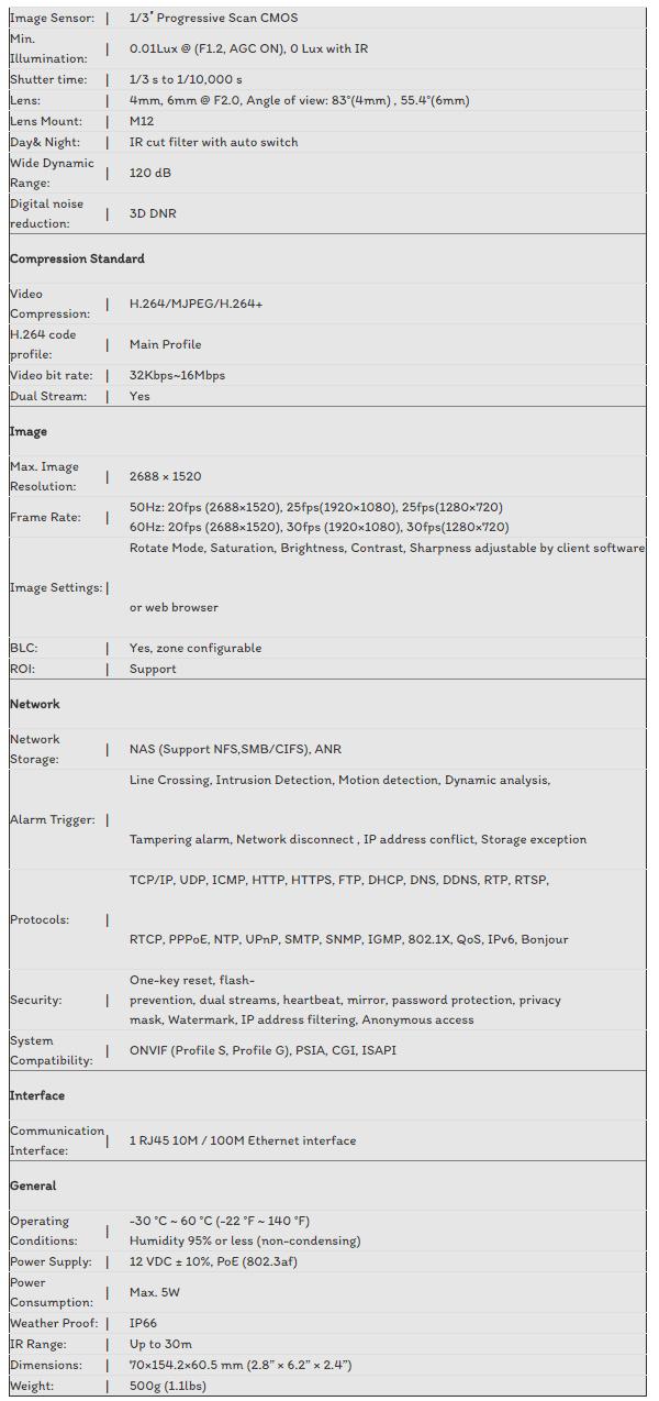 CAMERA IP HIKVISION 4.0MP DS-2CD2042WD-I