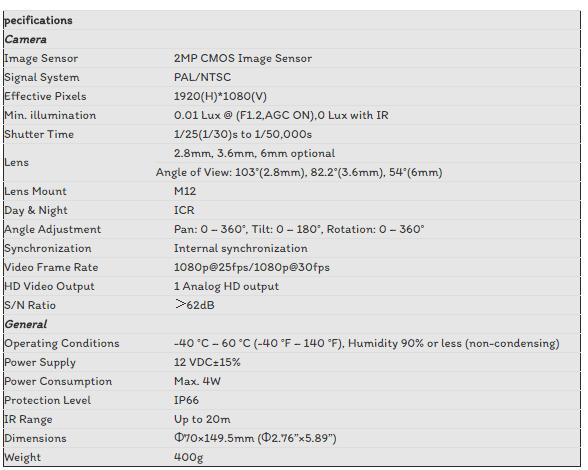 CAMERA TVI HIKVISION 2.0MP DS-2CE16D0T-IR