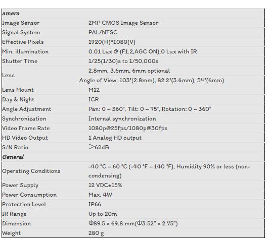 CAMERA TVI HIKVISION 2.0MP DS-2CE56D0T-IR