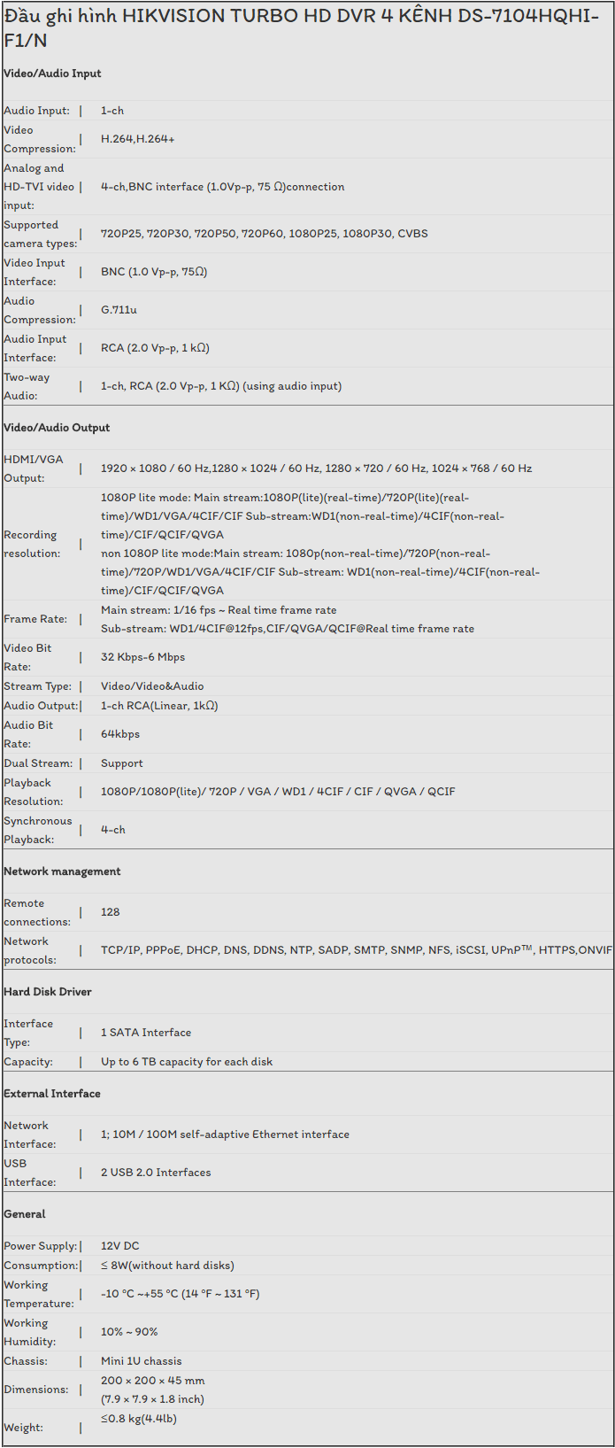 Đầu Ghi Hình HIKVISION TURBO HD DVR 4 KÊNH DS-7104HQHI-F1/N