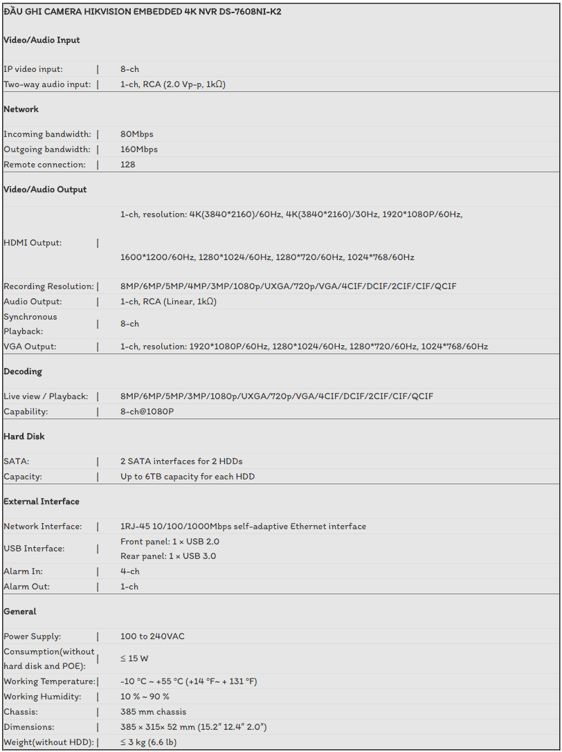 ĐẦU GHI CAMERA HIKVISION EMBEDDED 4K NVR DS-7608NI-K2