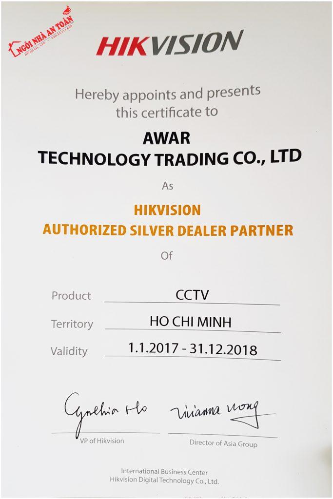chứng nhận đại lý hikvision