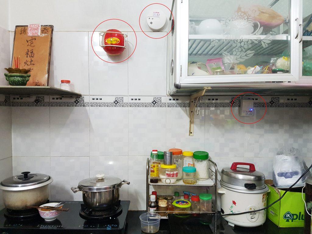Căn bếp được trang bị báo cháy, báo gas, và thiết bị tự động chữa cháy rất an toàn với mức giá quá rẻ