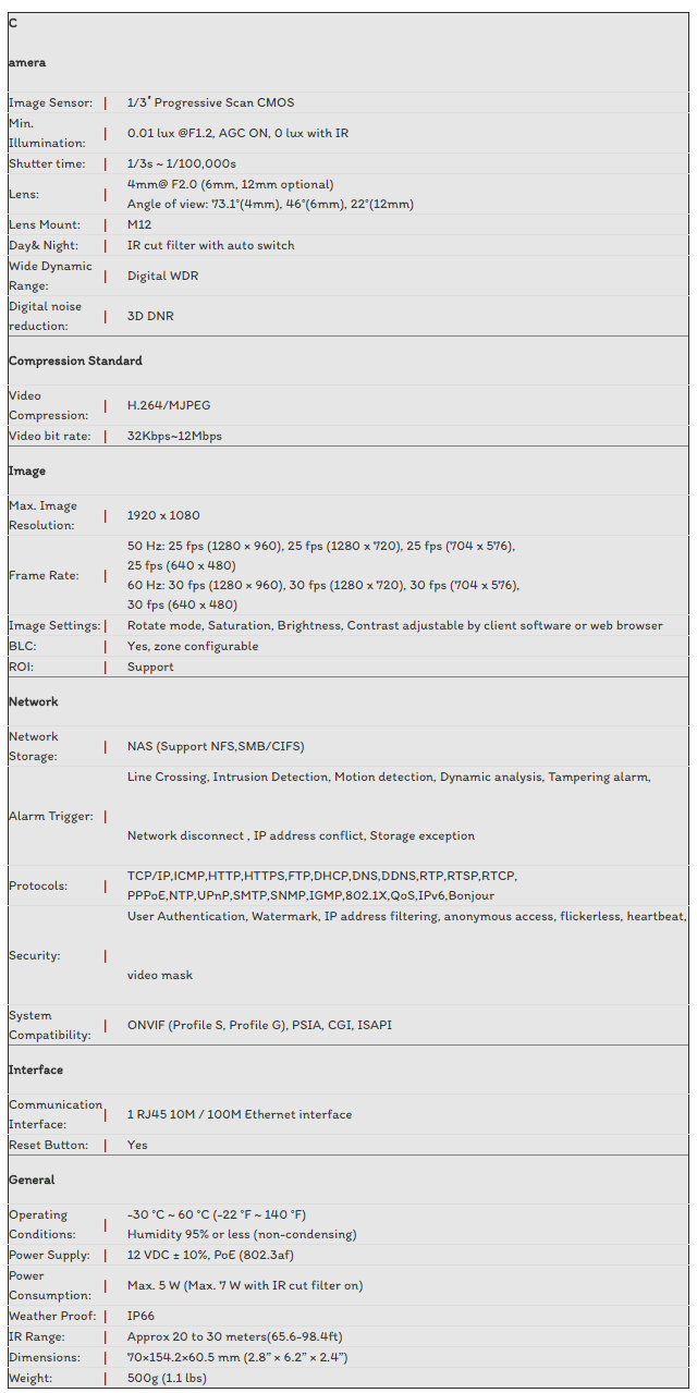 CAMERA IP HIKVISION 2.0MP DS-2CD2020F-I