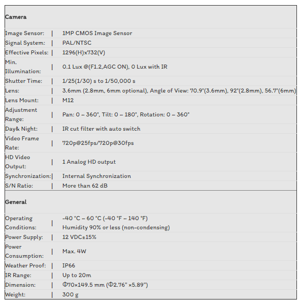 CAMERA TVI HIKVISION 1.0MP DS-2CE16C0T-IR