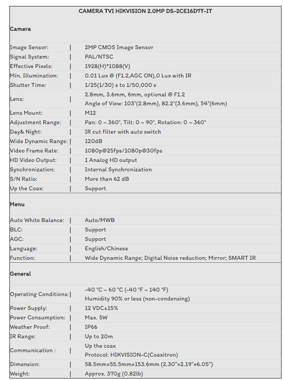 CAMERA TVI HIKVISION 2.0MP DS-2CE16D7T-IT
