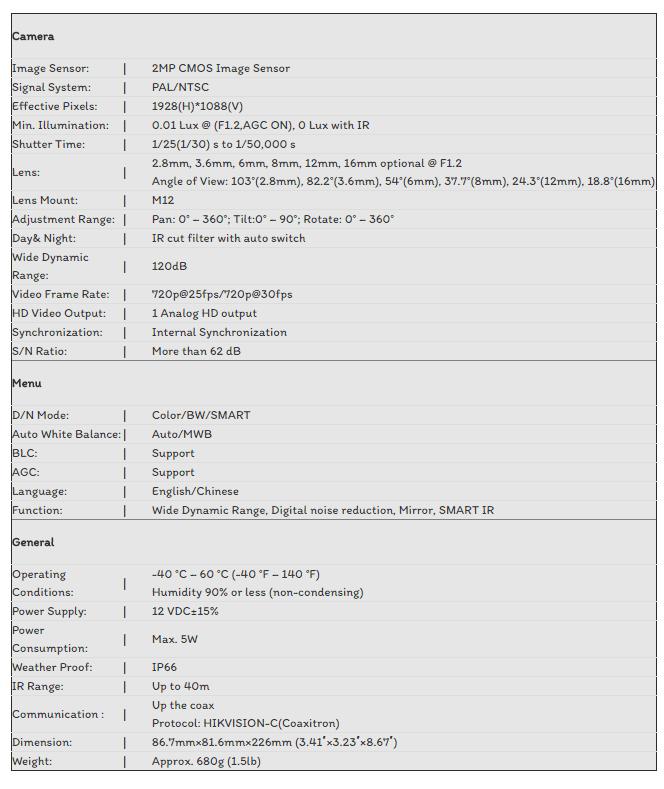 CAMERA TVI HIKVISION 2.0MP DS-2CE16D7T-IT3