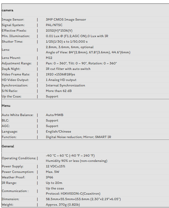 CAMERA TVI HIKVISION 3.0MP DS-2CE16F1T-IT