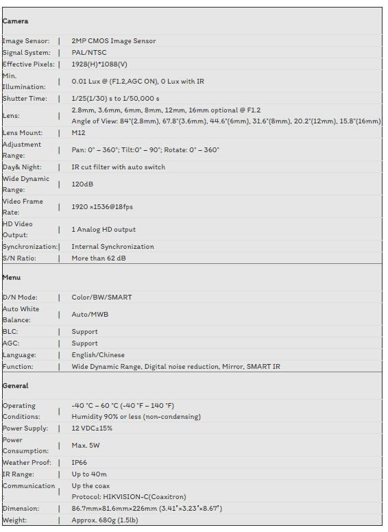 CAMERA TVI HIKVISION 3.0MP DS-2CE16F7T-IT3