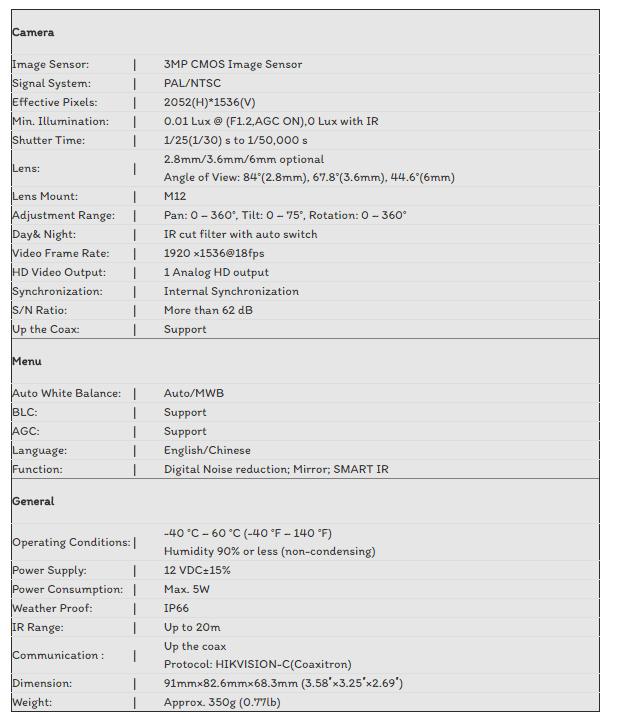 CAMERA TVI HIKVISION 3.0MP DS-2CE56F1T-ITM