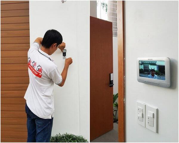 Nhân viên Ngôi nhà an toàn lắp camera chuông cửa màn hình Hikvision cho khách hàng