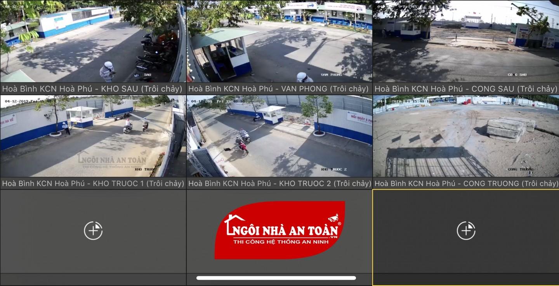 Hình ảnh camera công trường xem qua màn hình tv